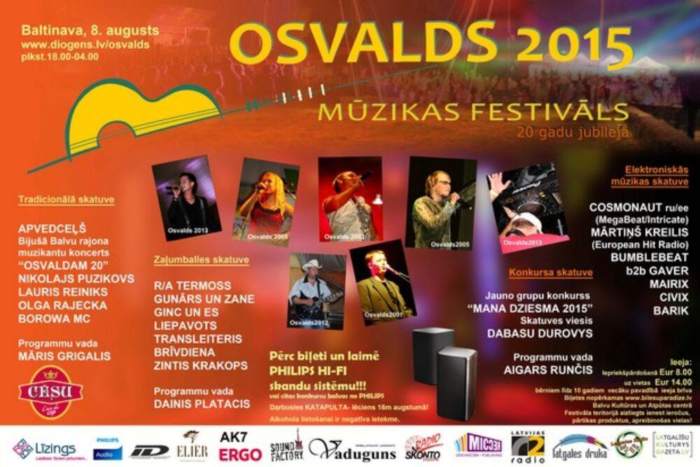"""Muzykys festivals """"Osvalds 2015"""" jau nuokušnedeļ"""