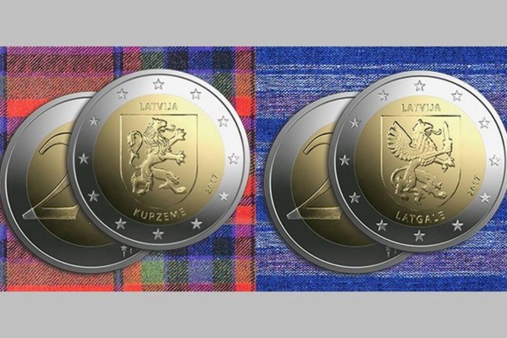 Izdūta Latgolai veļteita 2 eiro pīminis moneta