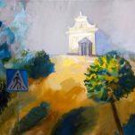 Rēzeknē apsaveramys Evitys Skrebinskys gleznuotuos Latgolys ainovys